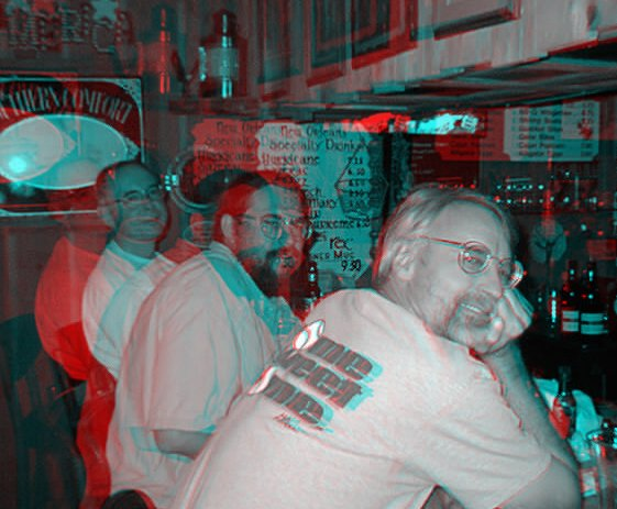 3d Image (Anaglyph) Of The Boys At The Bar